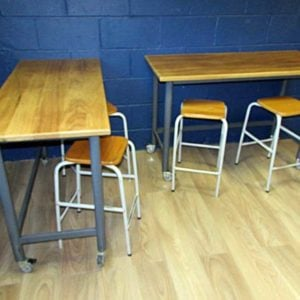 Retro/Vintage – Reclaimed/Salvaged School Lab Benches/Tables with Grey Steel Frames