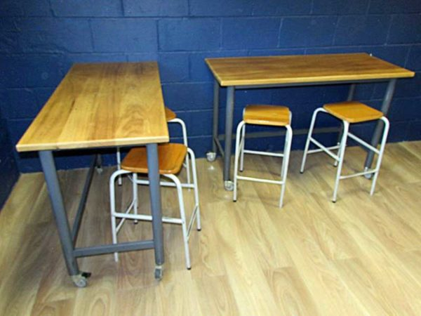 Salvaged-School-Lab-Benches---Tables-with-Grey-Steel-Frames